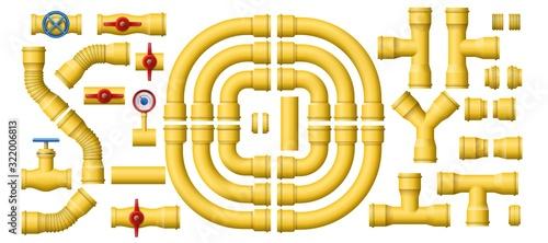 Fotografie, Obraz Yellow gas pipeline pipes