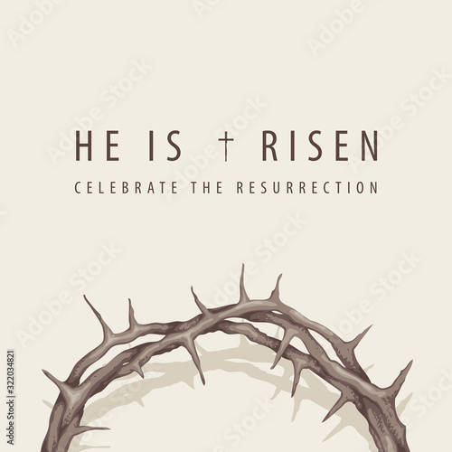 Photo Vector religious banner or greeting card on the Easter theme with words He is ri