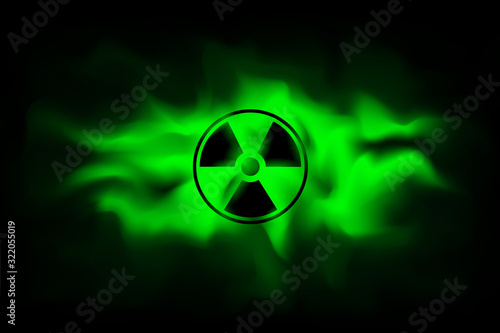 Fotografia Radiation sign on background of polluted green fog