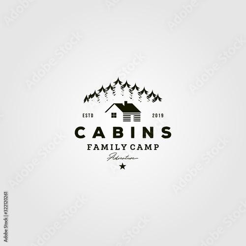 Slika na platnu vintage cabins logo vector illustration design