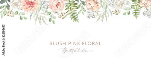 Fotografia, Obraz Delicate border of blush pink flowers, forest green leaves, white background