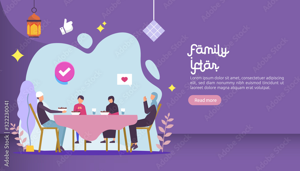 Iftar Eating After Fasting feast party concept. Moslem family dinner on Ramadan Kareem or celebrating Eid with people character. web landing page template, banner, presentation, social or print media <span>plik: #322230041 | autor: Surf Ink</span>