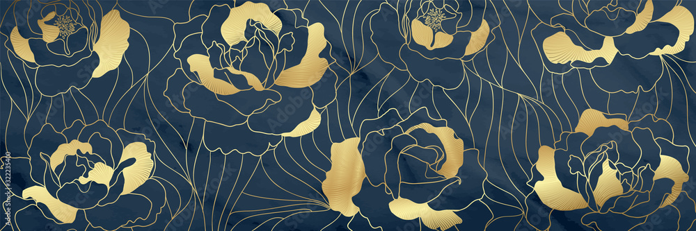 Luxury Gold floral17:9 background vector, Golden Natural pattern design for wallpaper, packaging, fabric, and wrapping background texture.
