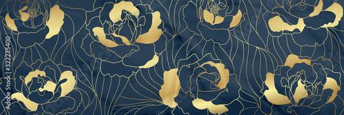 Luxury Gold floral17:9  background vector, Golden Natural pattern design for ...