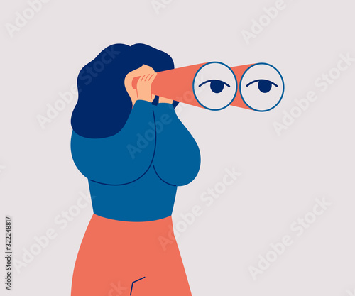 The woman looks through her large binoculars, looking for something. The girl is watching someone closely. Vector cartoon illustration