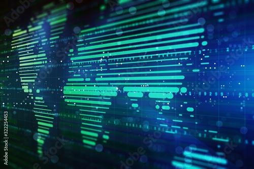 Digital hologram of world map on dark blue background. 3D Rendering