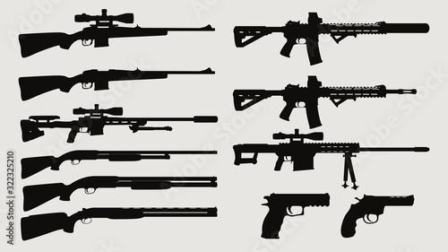 Fotografie, Obraz weapon silhouette side view set
