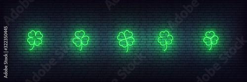 Clover neon icons for Saint Patricks Day Fototapeta