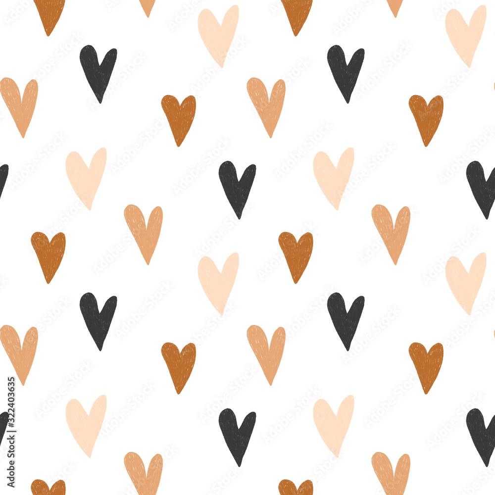 Fototapeta Jednolity wzór ręcznie rysowane proste serca w