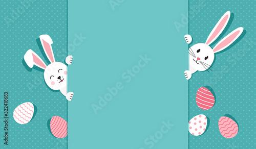 Obraz na plátně Easter bunnies and eggs greeting card