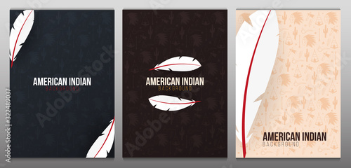 Fototapeta Set of Native North American Indian banners with feather and hand draw doodle elements