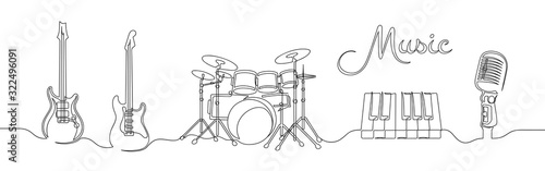 Fényképezés Set of continuous one line drawing of a musical instruments