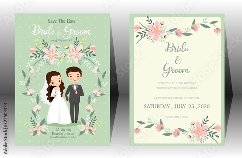 Foto cute wedding cartoon bride and groom couple invitation card on green background