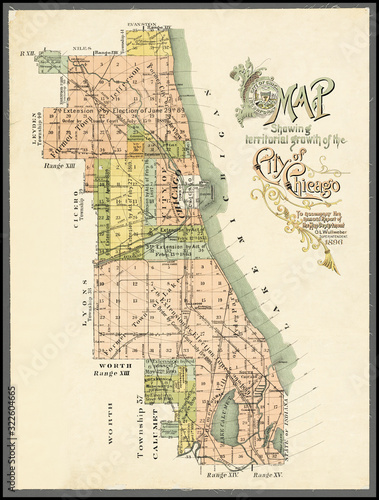 Fotografie, Obraz Map showing territorial growth of the city of Chicago date 1896, a restored repr