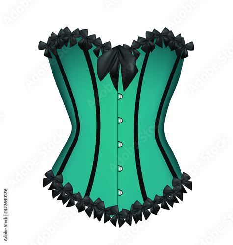 Canvas Print Blue sexy corset. vector illustration