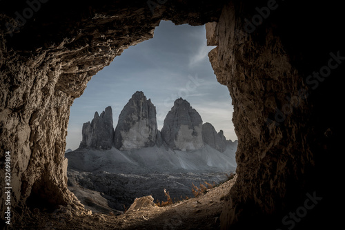 Tela Dark landscape of maountains seen from the cave