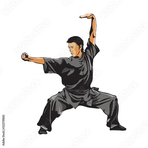 Obraz na płótnie A man shows a standing position of Wushu