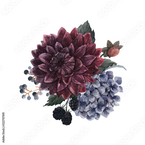 Leinwand Poster Beautiful bouquet composition with watercolor dark blue, red and black dahlia hydrangea flowers