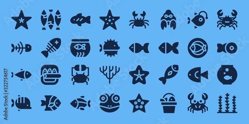 Fototapeta Modern Simple Set of aquarium Vector filled Icons