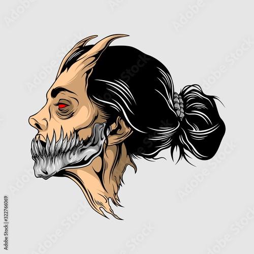 beauty demon head illustration Fotobehang