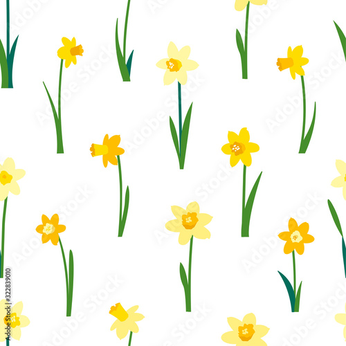 Carta da parati Floral seamless pattern with yellow daffodils and green leaves isolated on white background