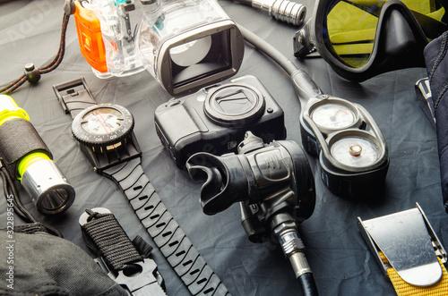 Canvas Print Full set of scuba diving equipment Fins, Regulator/Octopus, Depth Gauge, Balanced Regulator,Power Inflator, Dive Mask and Snorkel , aqualung