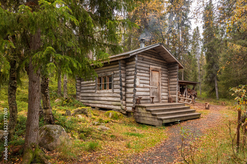 Traditional wooden wilderness hut in Oulanka national park, Finland