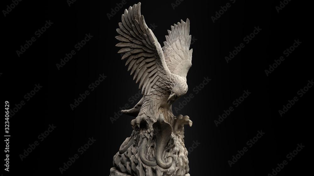 3D composite illustration of Eagle fighting a snake. Sculpture. 3D rendering. Art <span>plik: #323406429   autor: Aneek</span>