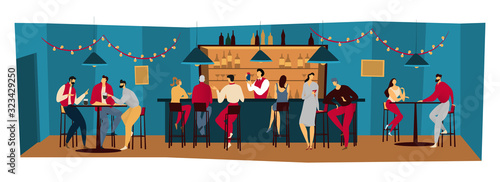 Photographie People bar, friends meet in pub night restaurant, men and women drink alcohol, vector illustration