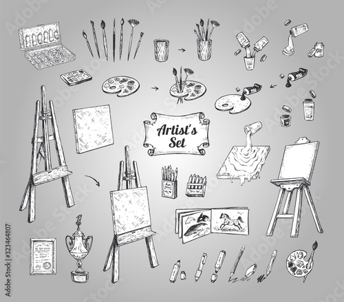 Photo Drawing and painting supplies, vector icons set