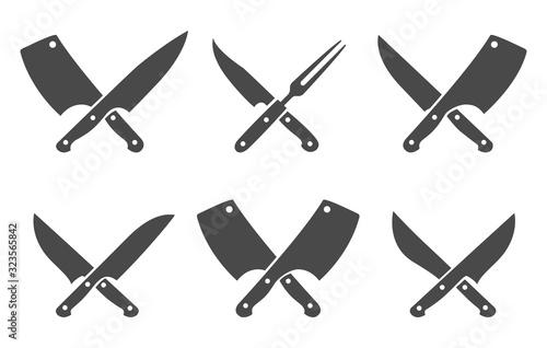 Obraz na plátně Butcher crossed knives