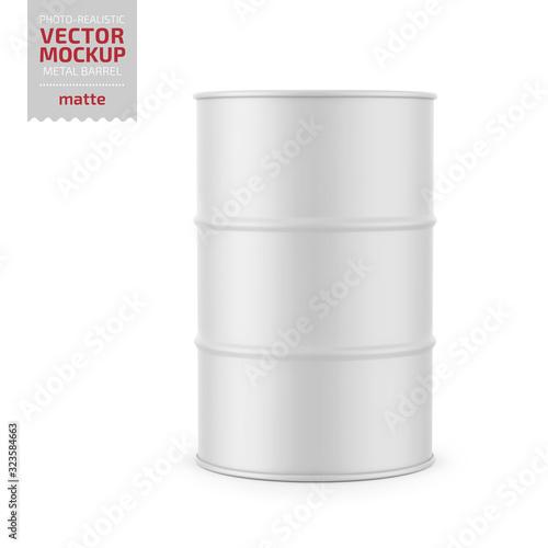 Fotomural White matte metal barrel mockup template.