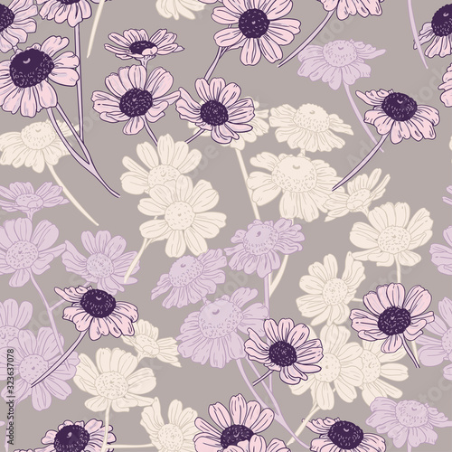 Vászonkép Pattern of pink, lilac and white daisies
