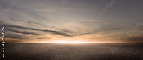 Fotografie, Tablou Dark Floor Background Beautiful Clouds Sunset Night Sky Horizon Scene