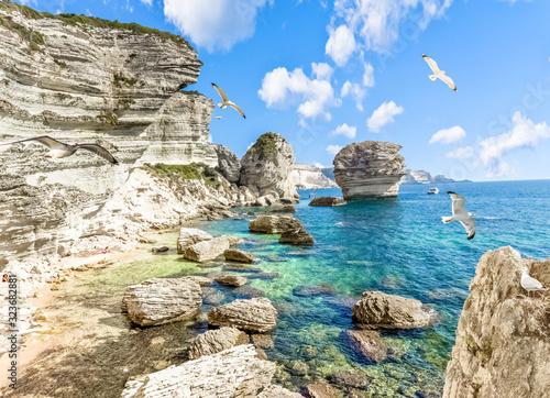 Fotografiet Les falaises de Bonifacio, Corse