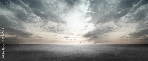 Tablou Canvas Floor Background Scene with Dark Cloud Horizon Sky