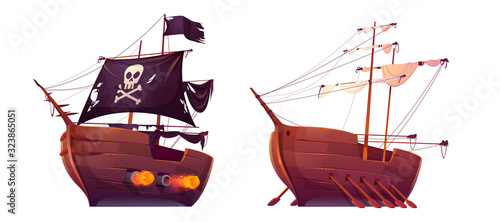 Valokuva Pirate ship and slave galley with oars isolated on white background