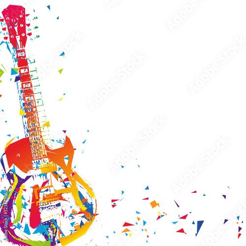 Kolorowa gitara grunge. Ilustracja wektorowa.