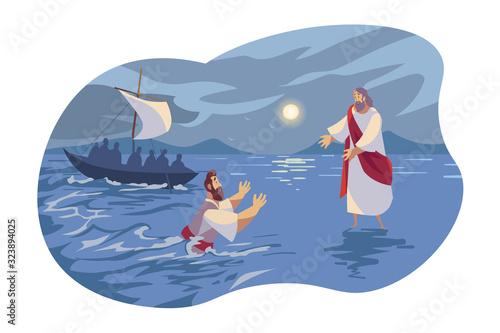 Leinwand Poster Jesus walks on water, Bible concept