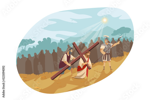 Jesus Christ on way of cross, Bible concept Fototapeta