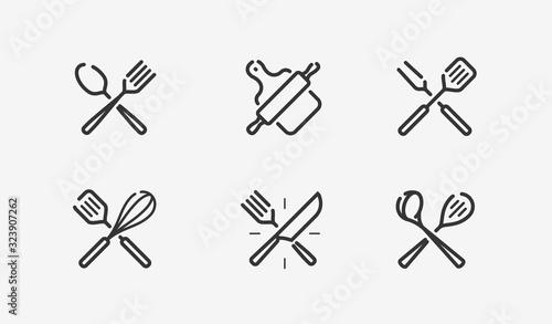 Obraz na plátne Cooking icon set. Culinary, restaurant, menu, symbol. Vector