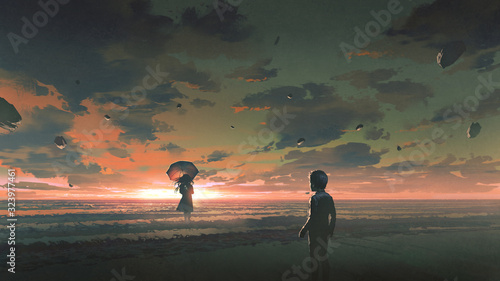 a boy looking at the mysterious woman with umbrella standing in the sea against sunset sky, digital art style, illustration painting