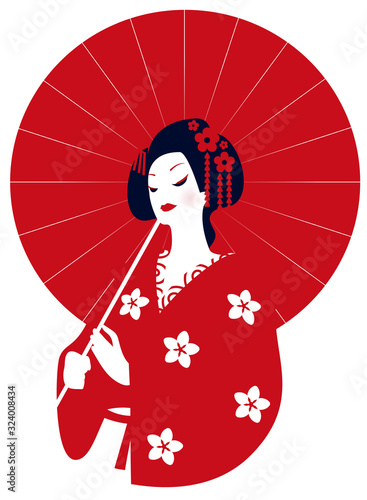 Tablou Canvas Geisha in kimono with a red umbrella in her hands