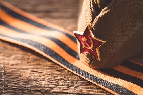 Obraz na plátně The Soviet Red Army Star, symbol of the Second World war, Victory Day 9 May post