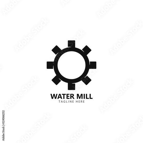 Stampa su Tela Water mill logo vector icon concept illustration