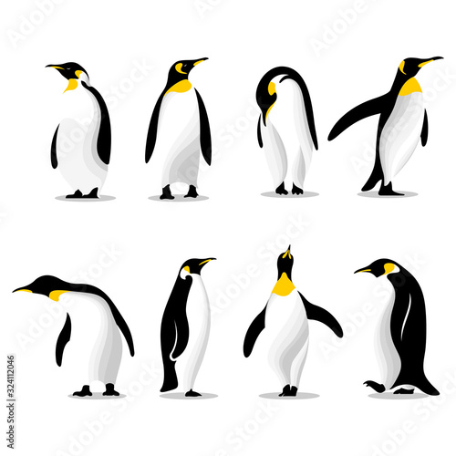 Stampa su Tela Cute penguins set logo