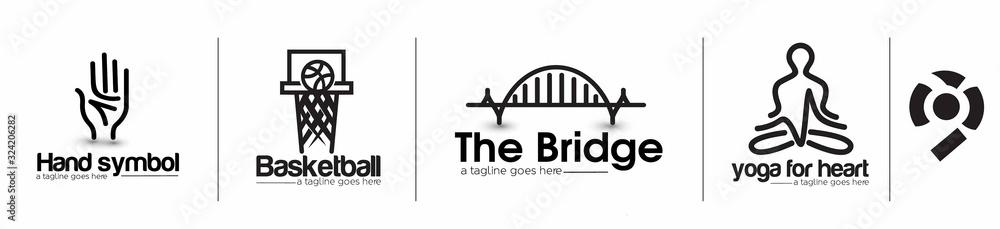 Modern Bridge basketball yoga Logo Design Element. <span>plik: #324206282 | autor: Redshinestudio</span>