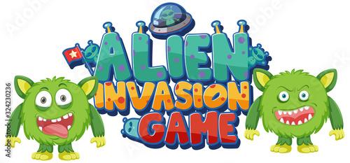 Fotografia, Obraz Sticker template for word alien invasion game
