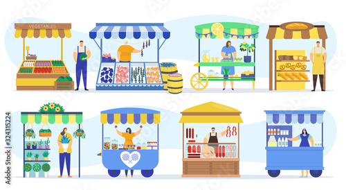 Fotografia Street shops stall market, vendor booths and farm market food counters vector flat cartoon icons set, vector illustration