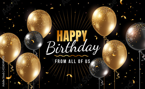 Photo Vector happy birthday illustration with 3d realistic golden air balloon on black background with text and glitter confetti